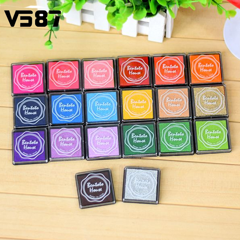 20pcs Hot Fashion Finger Painting Color Inkpad Rubber Kids Scrapbooking Stamps Candy Color Book Decoration(China (Mainland))