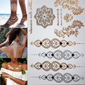 Free shopping new fashion flower body and I temporary henna tattoos metallic gold and silver bracelet