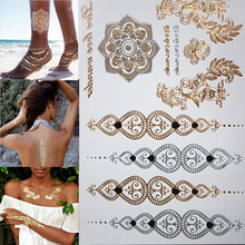 Free shopping new fashion flower body and I temporary henna tattoos metallic gold and silver bracelet stickers Flash tattoo art