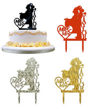 Fansy Wedding Cake Topper Insert Card Love Groom Bride Acrylic Decoration Mr & Mrs party cake stick cards drop shipping - Sunshine In The Store store