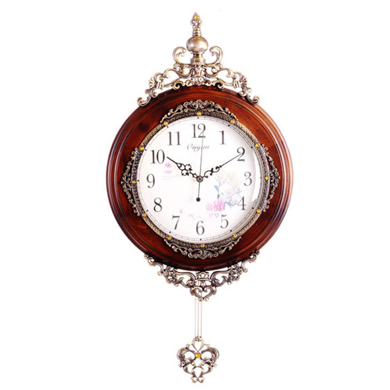 European Antique Wooden Wall Clocks Pendulum Fashion Modern Luxury Home Decor Silent Quartz Clock Movement - HAOYUN Decoration co., LTD store