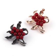 2 Pcs/set Vintage Merah Manik Bunga Bros 2 Warna Enamel Kerah Pin Tanaman Unik Topi Pakaian Perhiasan Aksesoris Hadiah untuk wanita(China)