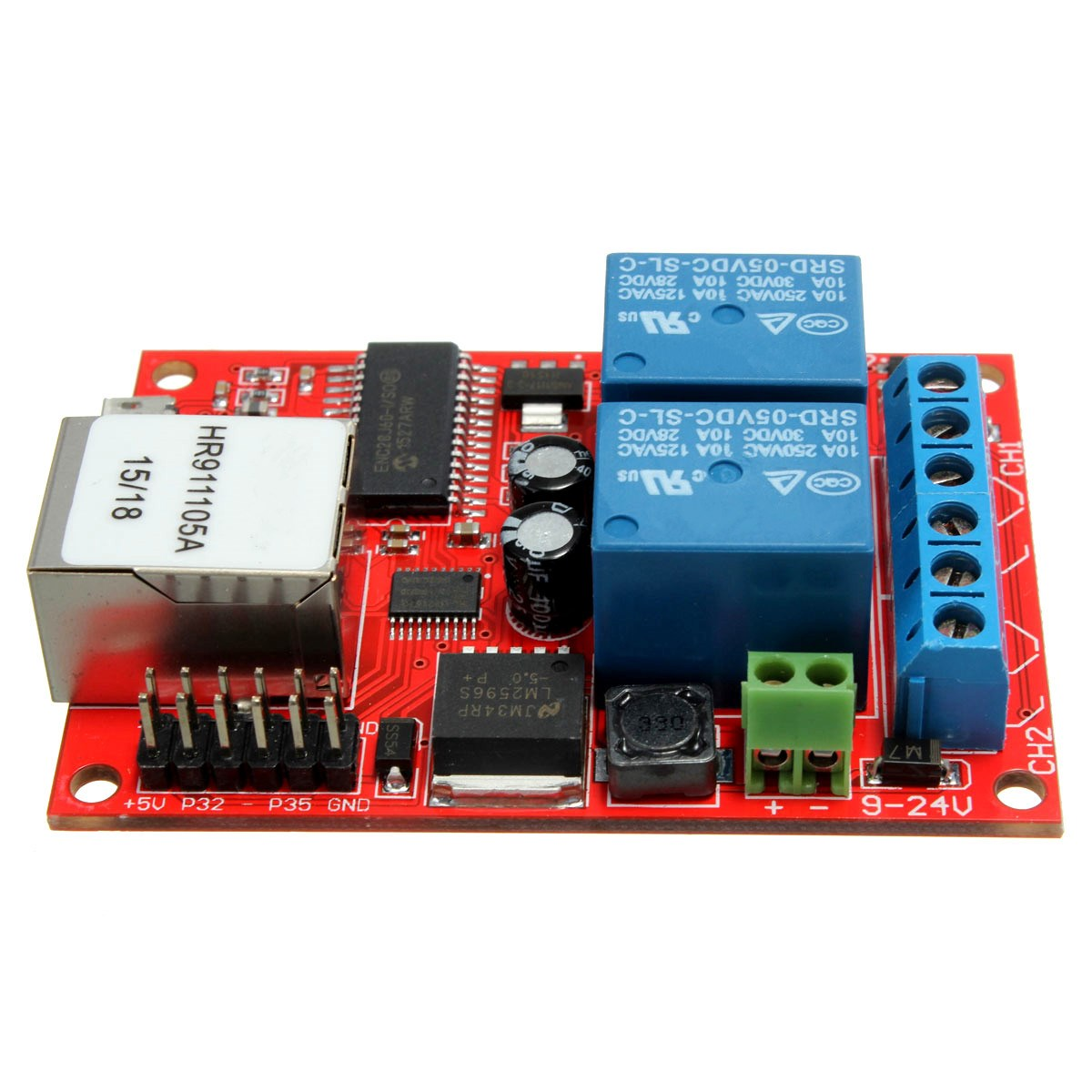 2016 Electronic kit Circuit Board LAN Ethernet 2-way Relay Board Delay Switch TCP/UDP Controller Module WEB server(China (Mainland))