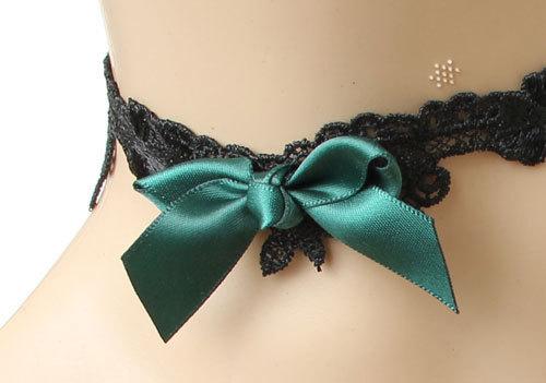Free Shipping Gothic Lolita Lace Ribbon Green Bowknot Black Choker Necklace JL-100(China (Mainland))