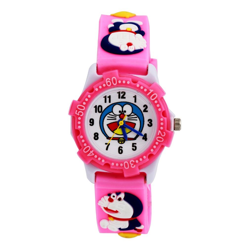 Lovely Anaglyph 3 d Cartoon Doraemon Watch Doraemon Silica Gel With Children Watch Waterproof Plastic shell fashion pink(China (Mainland))