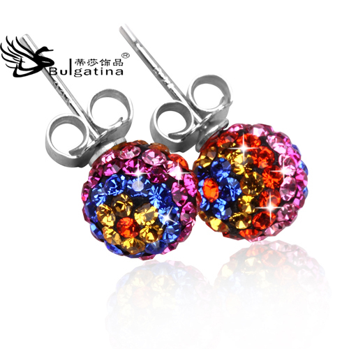 2015 new fashion hiqh quality colorful Handmade Ball Silver Stud Earrings 925 Crystal Mujer Pendientes - Disha Findings store