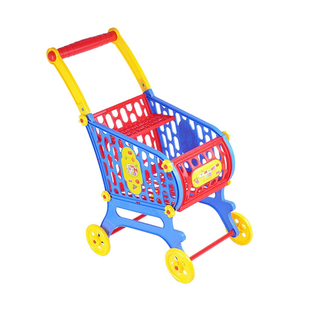 Mini Plastic Supermarket Shopping Cart Basket, Kids Toddler Role Pretend Play Toy Fancy Children Birthday Gift - 25x36x52cm