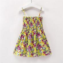 Crianças Vestidos para Meninas Verão Vestido Sem Mangas Menina Da Criança Flor Imprimir Vestido de Princesa 1 2 3 4 5 6 7 anos de Roupas infantis(China)