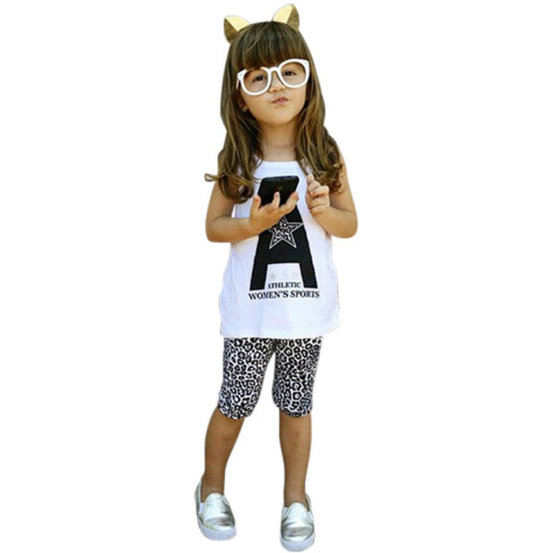 Baby Girls Pullover Print Star Vest+Leopard Pants Fashion Chidren Casual Sets Cotton Blend(China (Mainland))