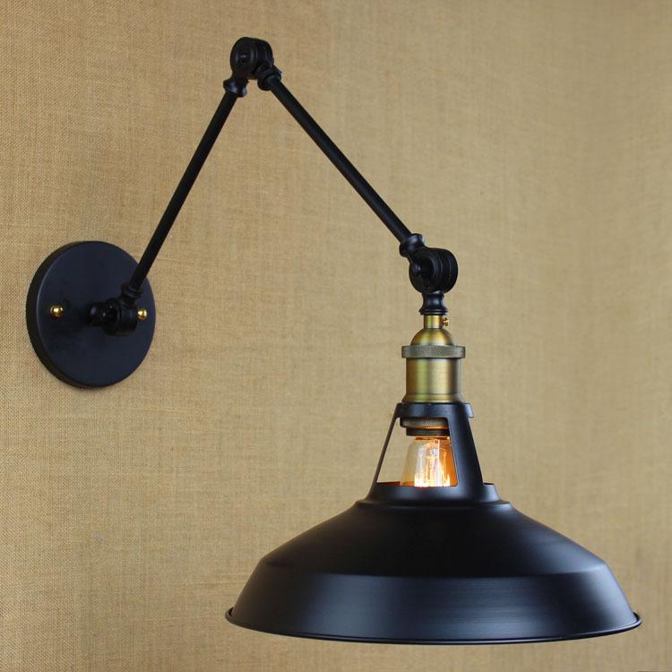 LEDream Wrought iron pot loft long arm folded the modern retro black wall lamp edison bulb E27 light lamp holder(China (Mainland))
