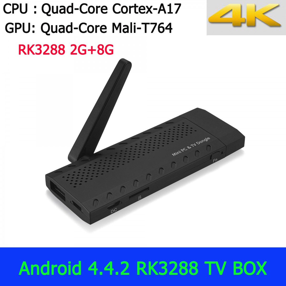 RK3288 Smart TV BOX Quad Core Cortex-A17 Mali-T764 2G 8G Mini PC 4K Android 4.4.2 PC Google TV Box Bluetooth 4.0 Dongle HDMI(China (Mainland))