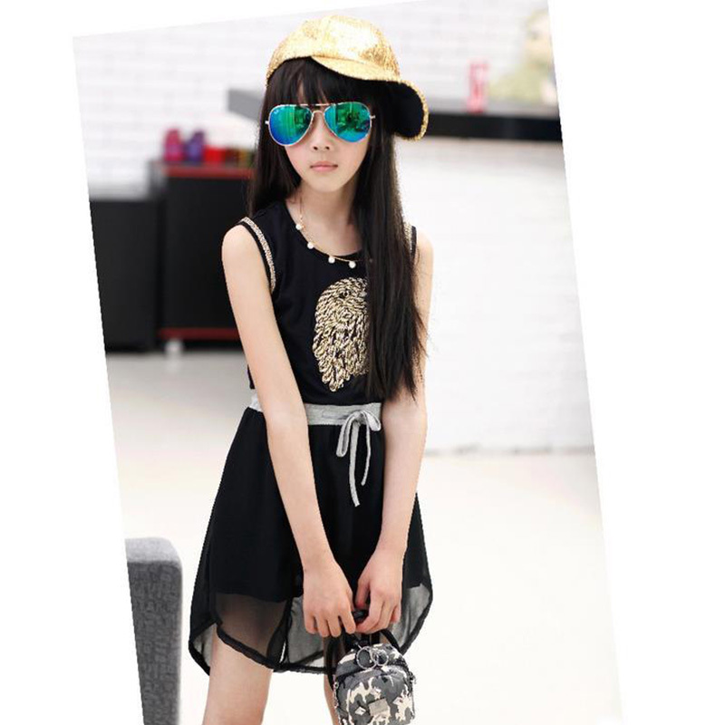 White Black Kids Girls Chiffon Sleeveless Dresses Spring Summer 2016 Casual Character Party Princess Dress Child clothes 2016(China (Mainland))