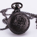Luxury Retro Antique Baroque Rose Pattern Pocket Watch Quartz Pendant Clock With Long Chain Necklace Black
