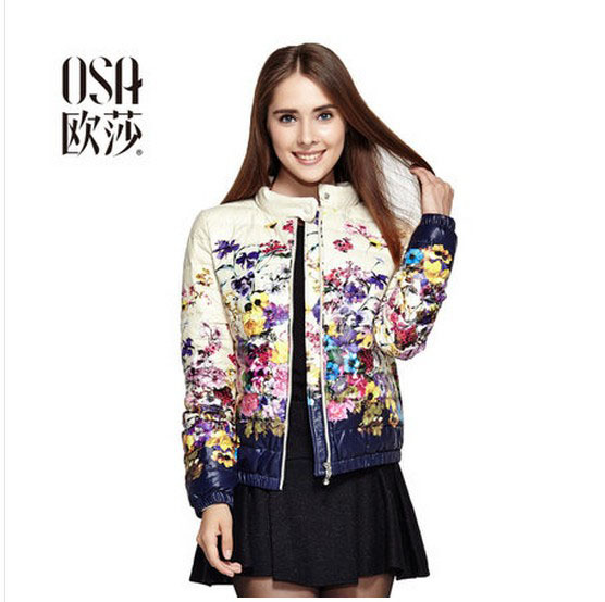 OSA 2014 New Autumn Fashion Women Long Sleeve Printed Warm Down Coat Slim Winter Jacket Coat Outwear SY408031(China (Mainland))