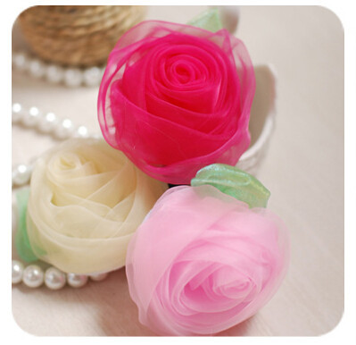 20pcs/lot Fashion Beautiful Mesh Rose Flower Accessories for jewelry/hair/brooch/bag/shoes/clothes DIY decoration Mix color SH08(China (Mainland))