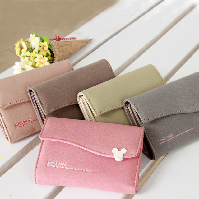 Mouse Hasp Wave Edge 6 Colors 3 Styles Solid Lady Purse