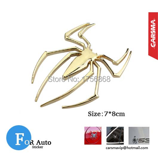 (50 pieces/lot) 3D Spiderman Car Sticker Metal Spider Man Auto Motorcycle Motor DIY Decal Accesories Free shipping(China (Mainland))