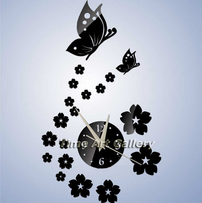 Home decorations!Butterfly&floral mirror effect wall clock modern design,watch sticker decoration living room,F7 - Time Art Gallery----Bring walls to your life ! store
