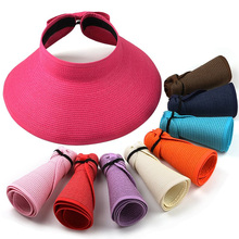 2015 New Fashion Women Lady Foldable Roll Up Sun Beach Wide Brim Straw Visor Hat Cap Free Shipping(China (Mainland))