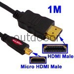 Free Shipping 1M Gold Plated Black Micro HDMI Male to HDMI Male Cable High Quality