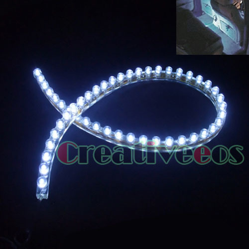 2x PVC 48CM 48LEDs Car 12V Waterproof Flexible LED Neon DRL Driving Strip Grille Light Show White Light(China (Mainland))