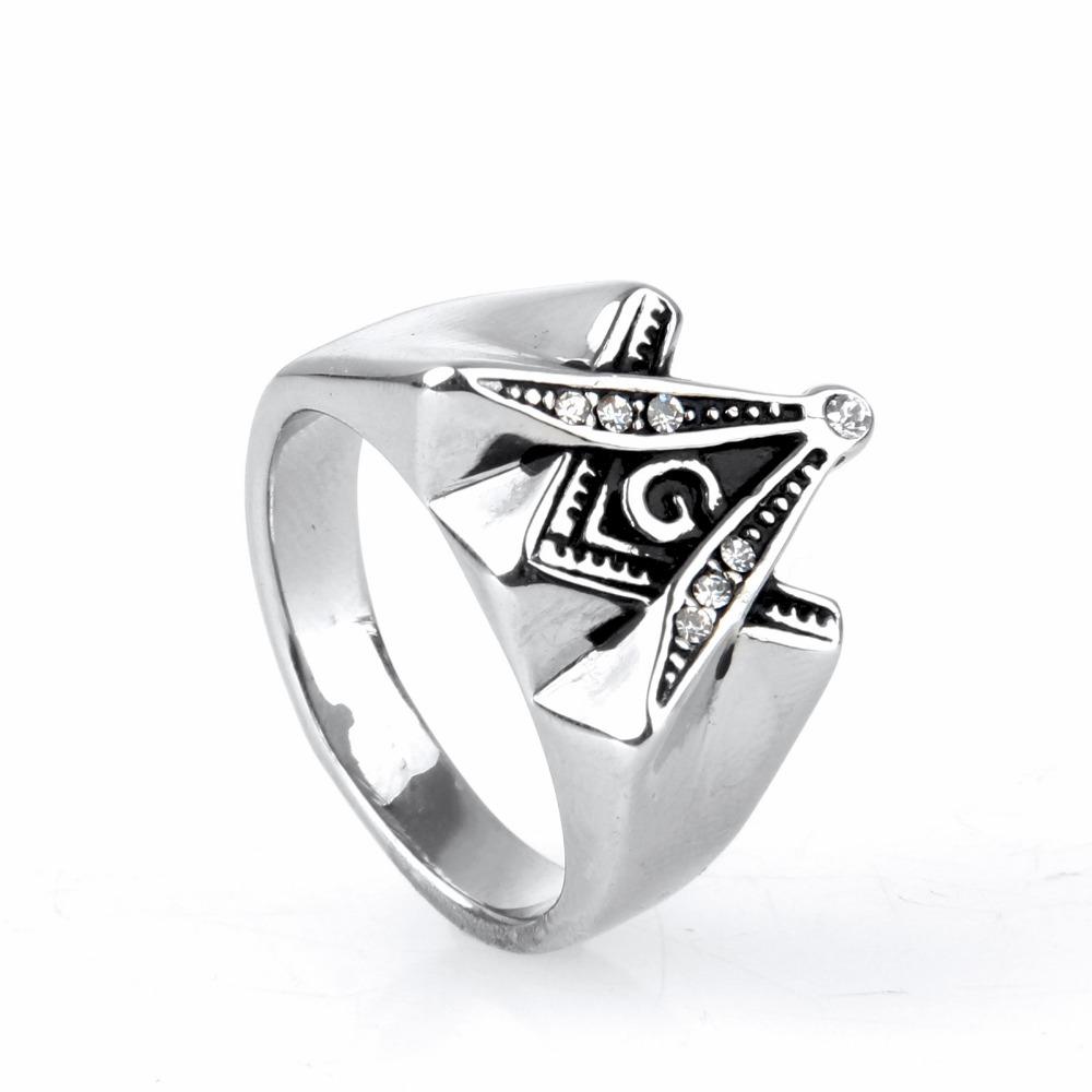 New Men's Silver Ring Free Mason Freemason Masonic Ring 316L Stainless Steel Ring Men's Jewelry(China (Mainland))