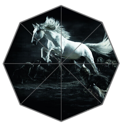 New Arrive-19 Outdoor Umbrellas Creative Design High Quality Beautiful White Black Horses Foldable Rain Umbrella Gift To Friend(China (Mainland))