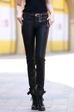 Leather Trousers Women Fashion Skinny Pants for Lady Female Suede Pants plus Size 1306