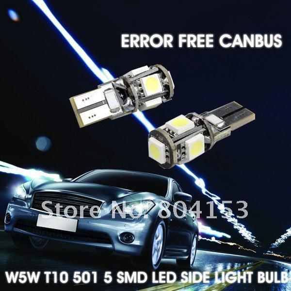 Express Wholesale Free 100pcs/lot T10 W5W White Canbus 5050 SMD Car No Error Bright Reading lights Corner lamp Car dome light(China (Mainland))