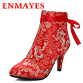 ENMAYES China Style Retro Embroidered Shoes Woman High Heels Pointed Toe Ankle Boots Women Lace Up