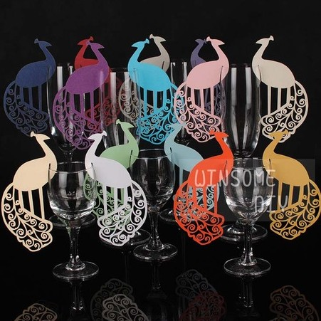 120pcs lot classic peacock place wine glass marker table name card wedding party table. Black Bedroom Furniture Sets. Home Design Ideas