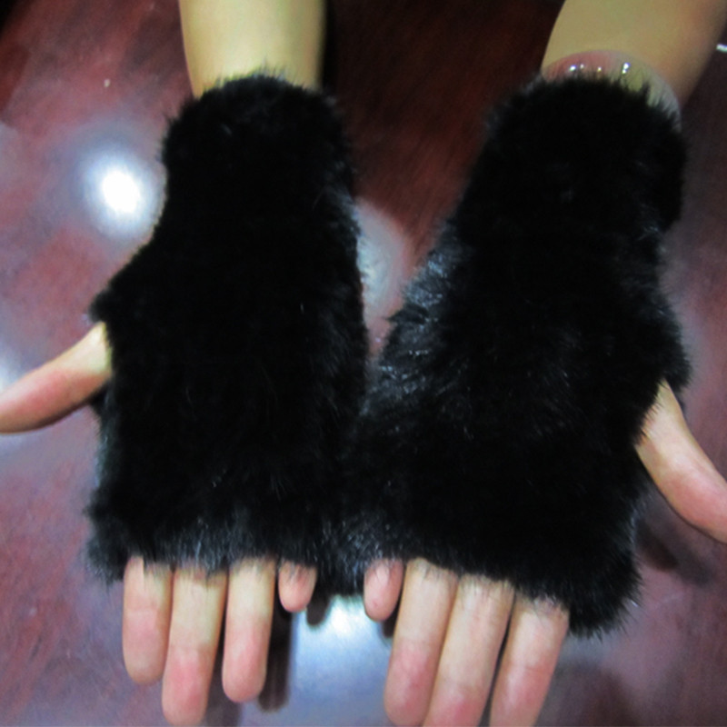 2016 Real Mink Fur Gloves Knitted Women Mittens Fashion Winter Style Gloves DI8(China (Mainland))