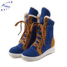2015 mujeres más el tamaño 34-43 moda punta redonda nieve botas con cordones botas de invierno de arranque mujer de patea los zapatos negro rojo azul SB1000(China (Mainland))