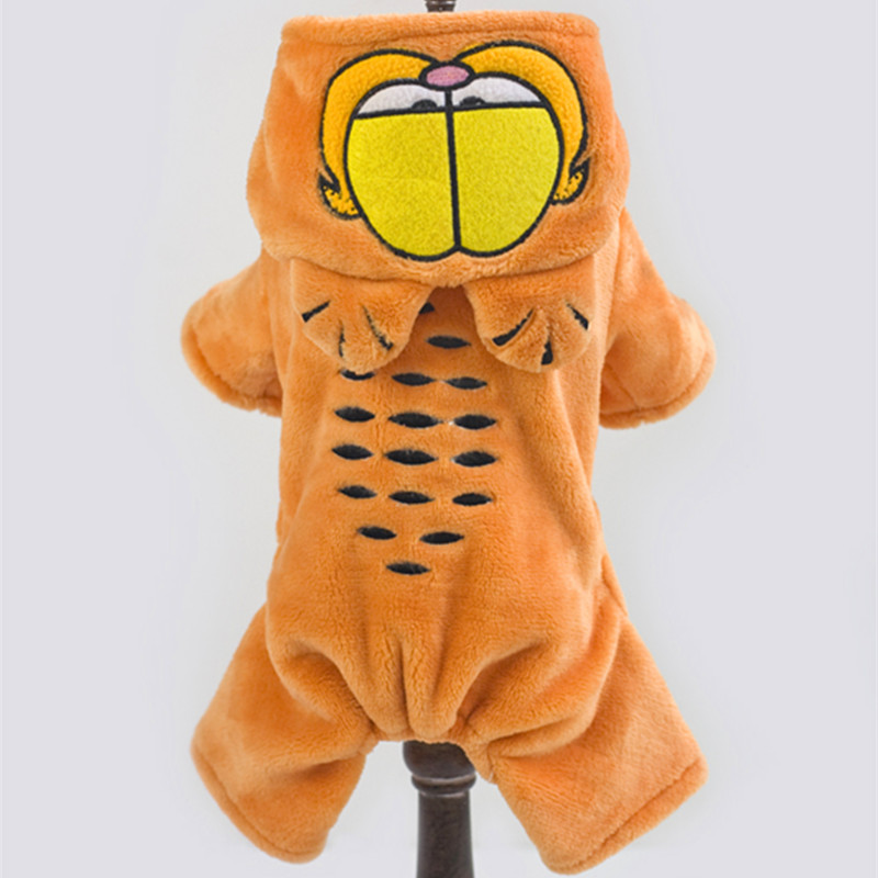 Warm Winter Dog Clothes Flannel Fleece Garfield Jumpsuit Outfits For Small Dogs Pet Clothes Hooded Coat Pet Costume PT106(China (Mainland))