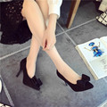 Spring and autumn new women fashion pointed high heeled shoes women shoes suede matte leather bow