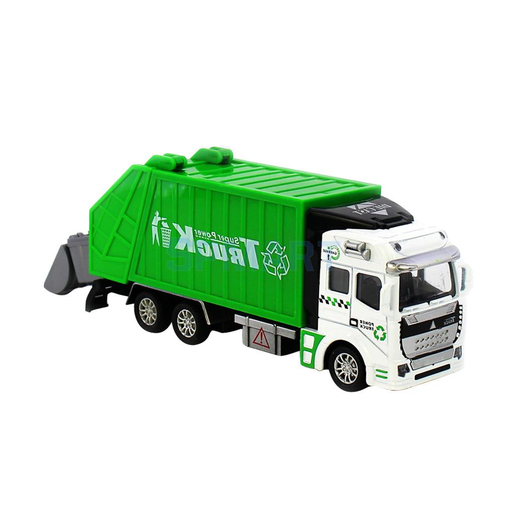 1:32 Scale Die Cast Pull Back Sanitation Engineering Garbage Truck Model Children's Day Birthday Gift Classic Car Toy