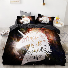 3D HD Digital Printing Custom Bedding Set,Cartoon Duvet Cover Set Queen King Kids Child Baby,Bedclothes Cute Stars Unicorn(China)