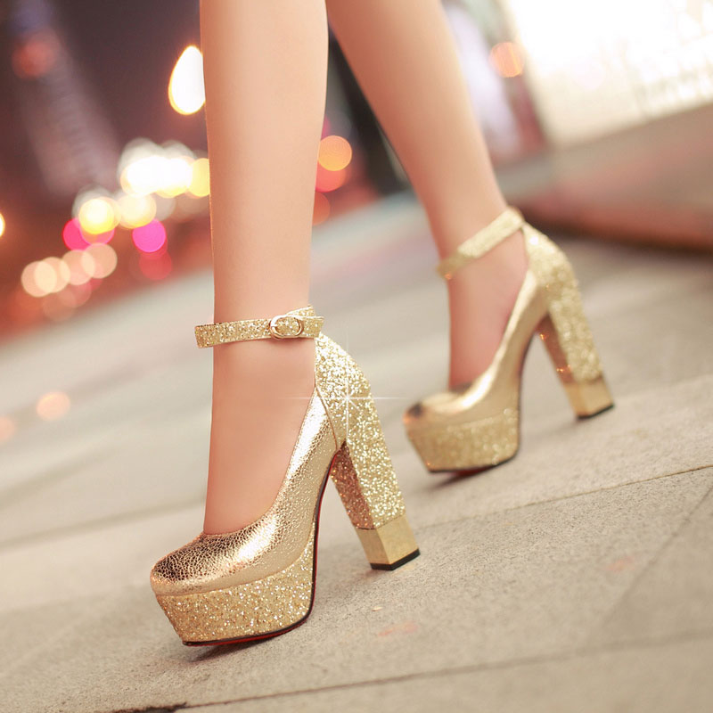 Red wedding shoes high-heeled shoes bridal shoes Women single shoes thick heel platform wedding shoes gold paillette bridesmaid