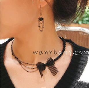 Hello Kitty N4044 black lace bow short beaded necklace design gentlewomen pendant chain female - Jewelry Mall store