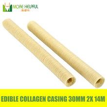 Best sales!!! halal edible sausage casing 2pcs/Lot total 28meters Diameter 30mm sausage Collagen casing free shipping(China (Mainland))