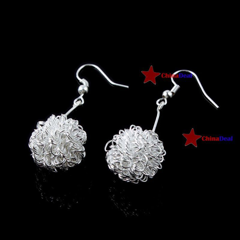 chinadeal Fitness!! Fashion Cute Lovely Silver Hollow Dangle Ball Earrings quickly(China (Mainland))