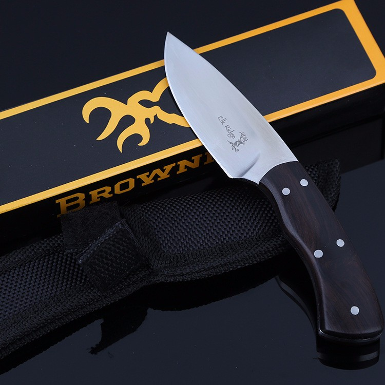 Buy Ebony Wood Handle Fixed Blade Knife Full Tang Hunting Straight Knife Tactical Survival knives cheap