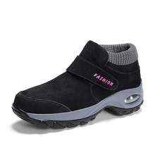 STQ 2019 Mùa Đông Nữ Ủng Cho Nữ Giày Nữ Ấm Áp Nền Tảng Đen Mắt Cá Chân Giày Bốt Nữ Cao Gót Chống Thấm Nước Đi Bộ Đường Dài Giày 1851(China)