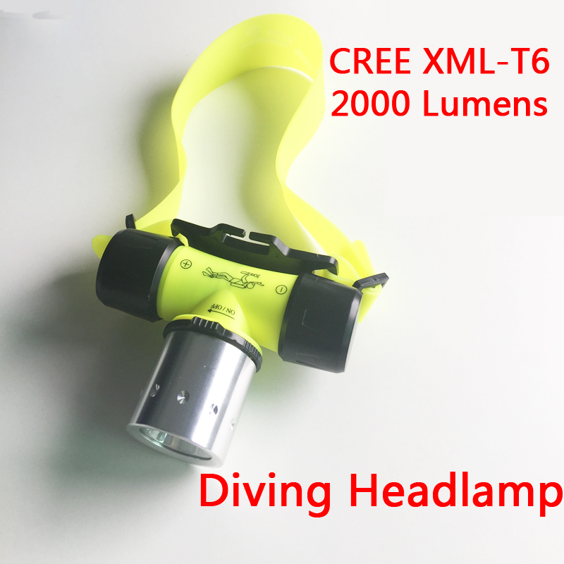 2000 Lumen XM-L XML T6 LED Underwater Waterproof 20m Swimming Diving Headlamp Headlight Dive Head Light Torch Lamp<br><br>Aliexpress