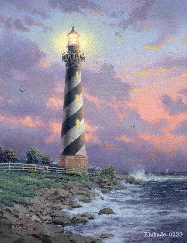 Thomas Kinkade prints original oil painting Cape hatteras light seascape Lighthouses painting hotel Home wall decor items(China (Mainland))