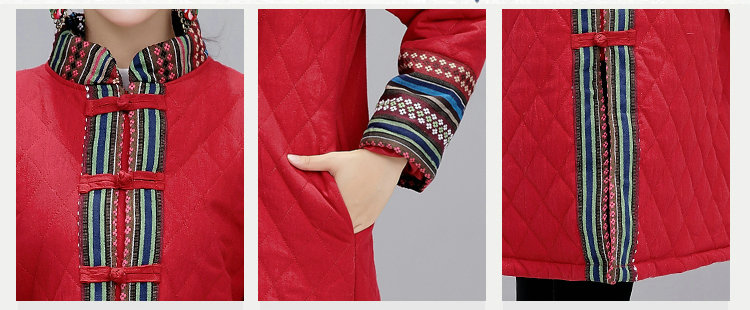 Chinese National Style Solid Color Blue And Red Winter Warm Cotton Thick Casual Long Jacket Women Plus Size New