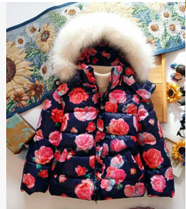 2015 girls warm coat baby winter long sleeve flower jacket children cotton-padded clothes kids christmas outwear(China (Mainland))