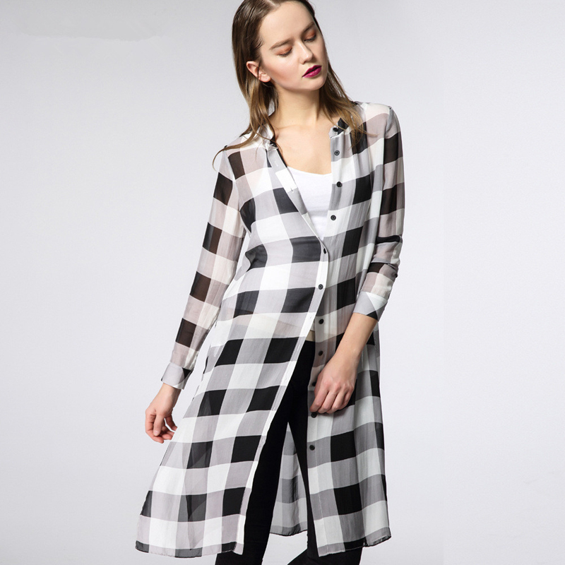2015 Spring elegant Commuter style Plaid Long Cardigan dress women single breasted lapel real silk side split brand Professional(China (Mainland))