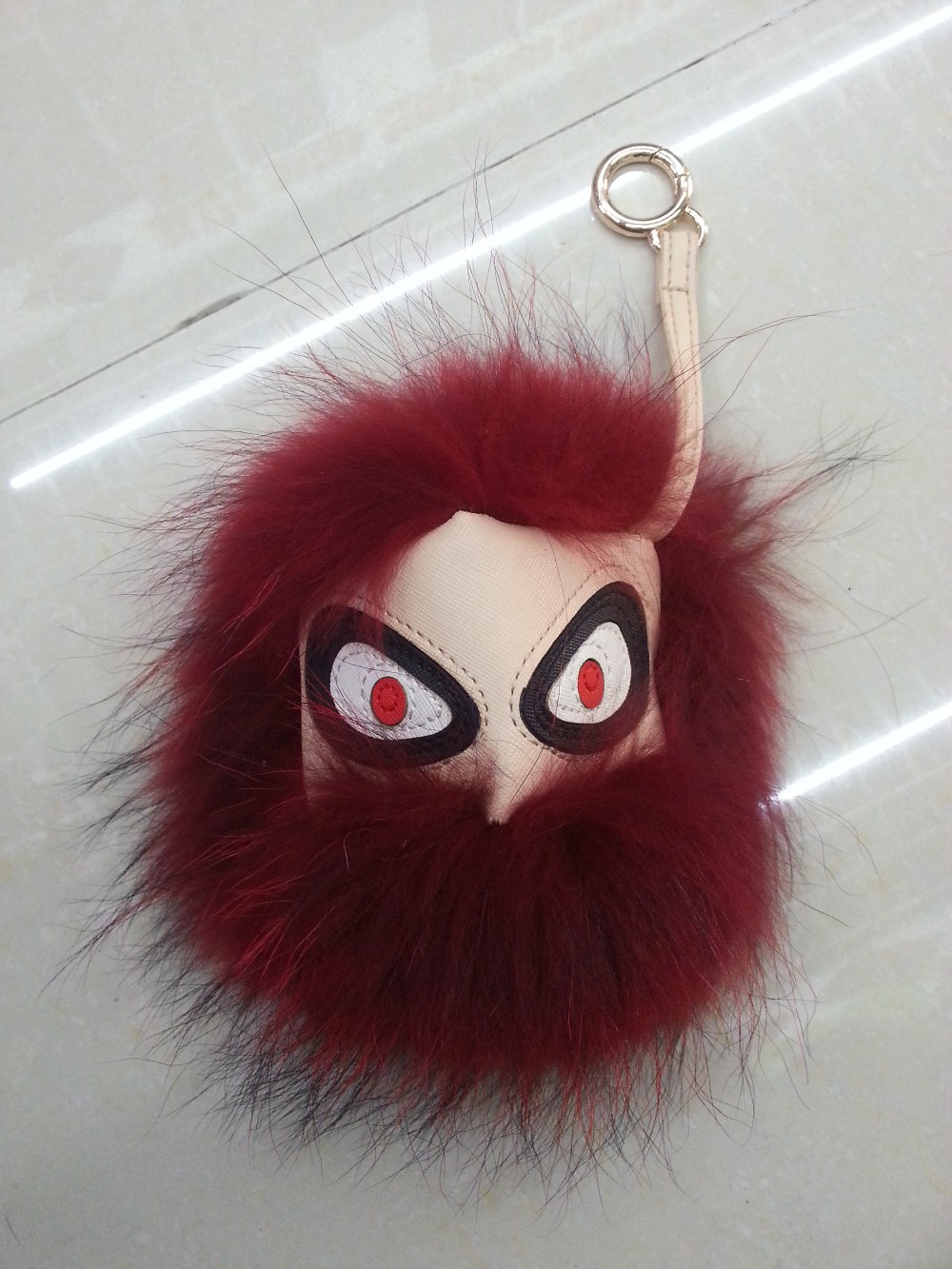 Real fur Leather Monster Phone Strap Doll Ball keychain Bag Pendant car Charm(China (Mainland))
