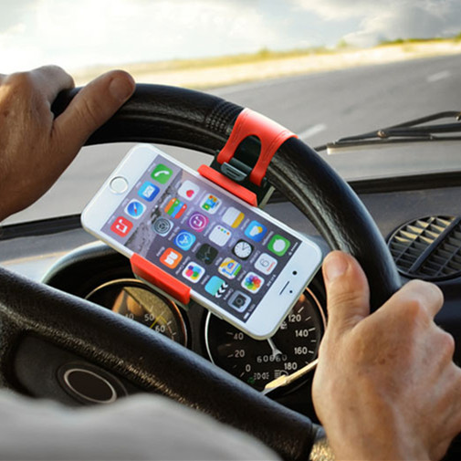 I6 car steering wheel holder for iphone 5s universal mobile support for Samsung s6 edge s5 S4 car holder kit movil phone holder(China (Mainland))